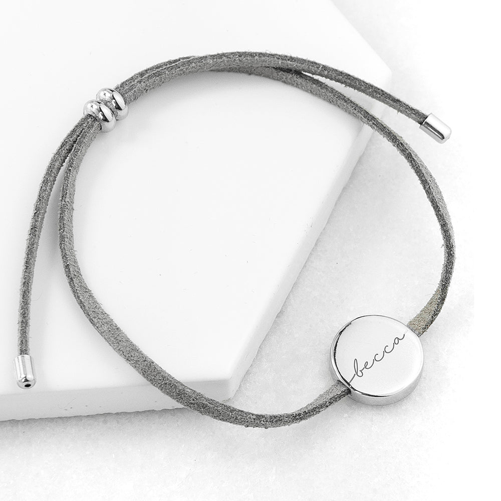 Personalised Grey Suede Bracelet wtih Silver Coloured Tag