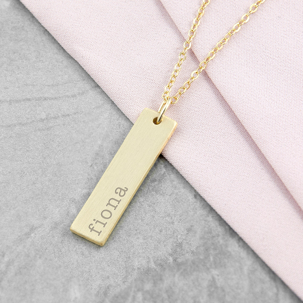Personalised Gold Plated Statement Bar Necklace Engraved with Serif Font Option