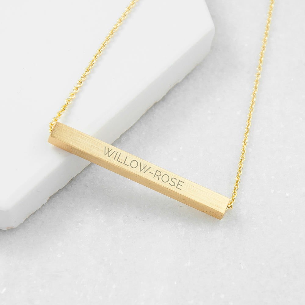 Personalised Horizontal Bar Necklace in Gold Plating Engraved with Sans Serif Font Option