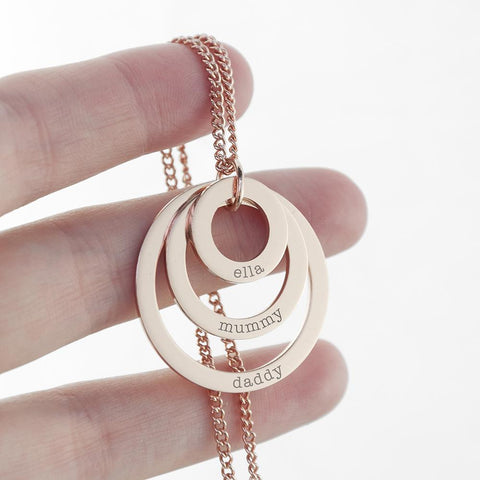 Personalised Rose Gold Plated Rings of Love Necklace Engraved with Sans Serif Font