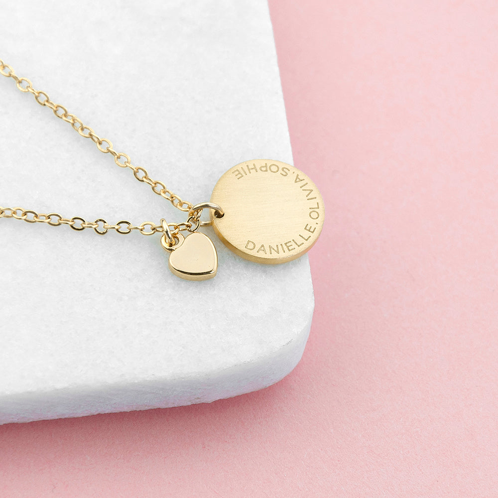 Personalised Heart & Disc Family Gold Plated Necklace Engraved with Sans Serif Font Option