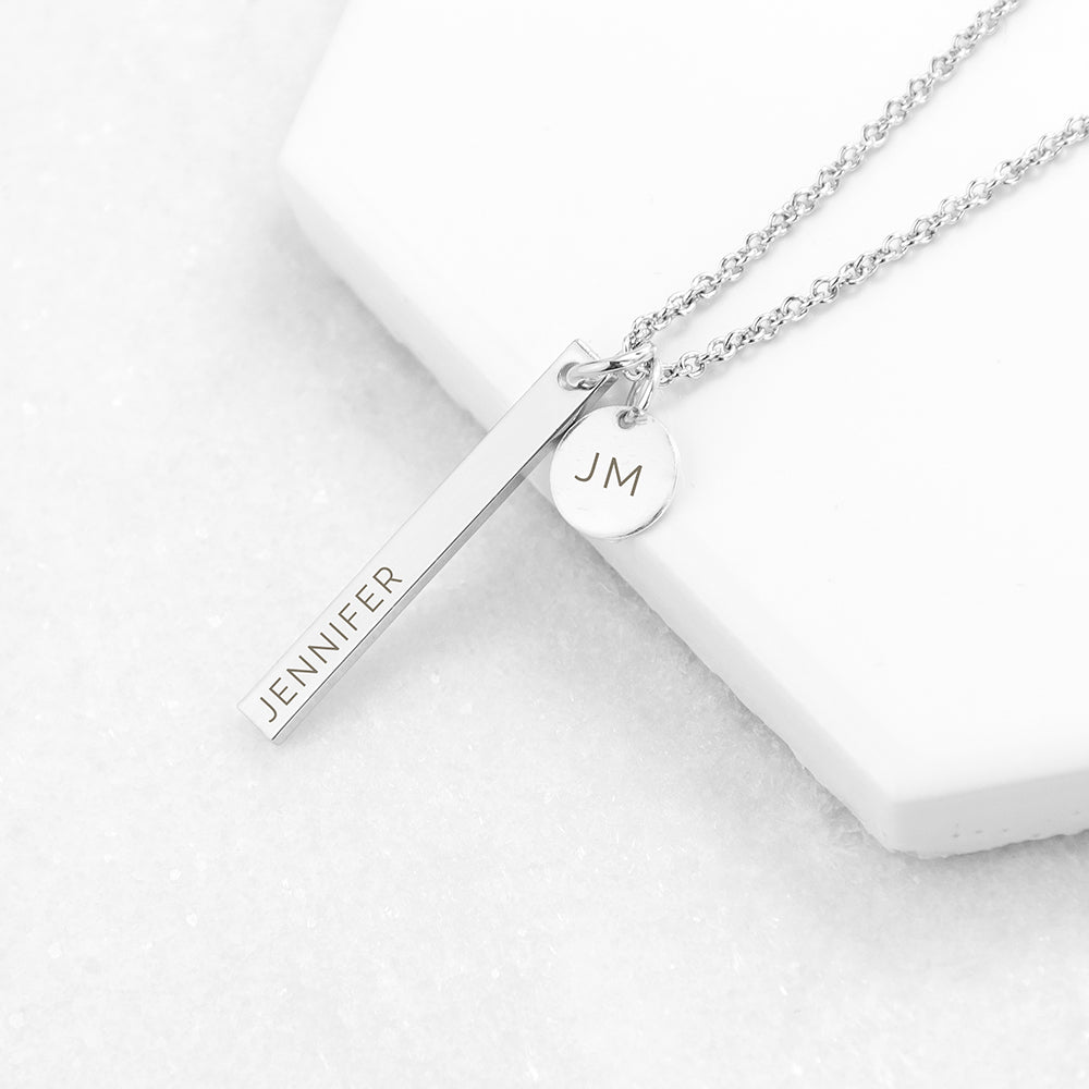 Personalised Silver Plated Bar and Disc Necklace