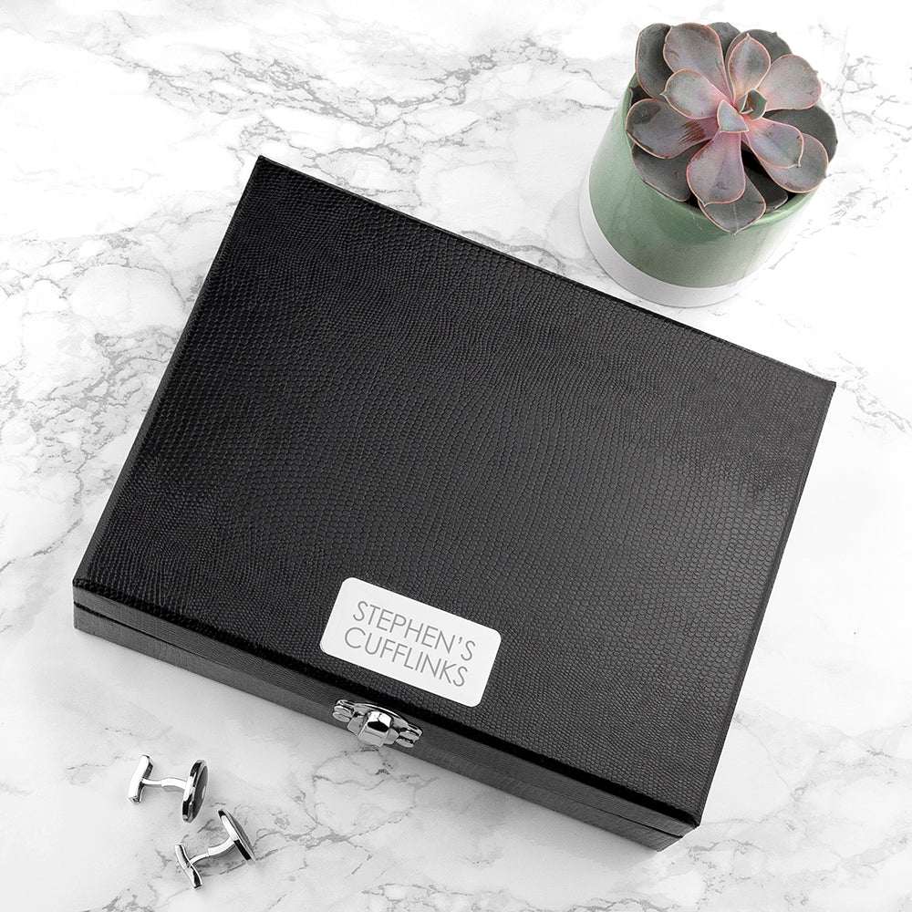Engraved Cufflink / Trinket Box in Black PU Leather