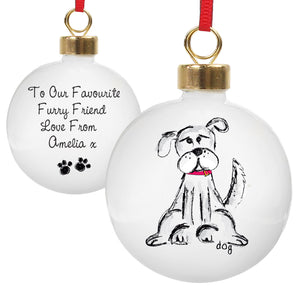 Personalised Christmas bauble for a dog. This round white ceramic Christmas tree bauble features an image of a hand-drawn dog in black and white, wearing a red collar, on the front. The rear of the bauble can be personalised with your own special message over up to 4 lines and two paw prints will be featured below your message.
