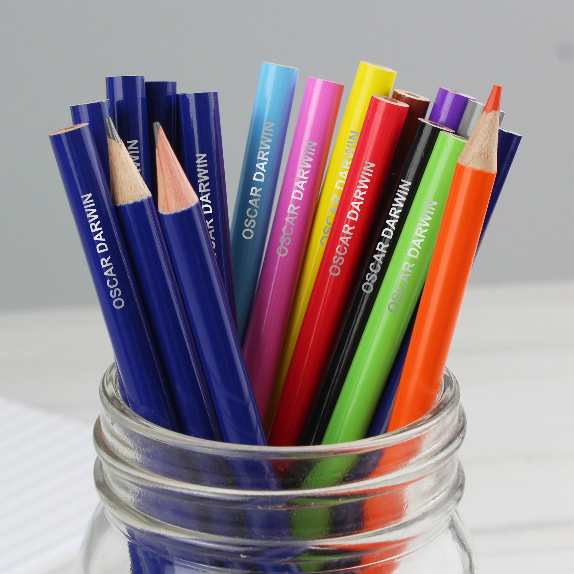 Pack of 20 personalised pencils, 12 are colouring pencils and 8 are HB. The name will be printed onto them in uppercase.