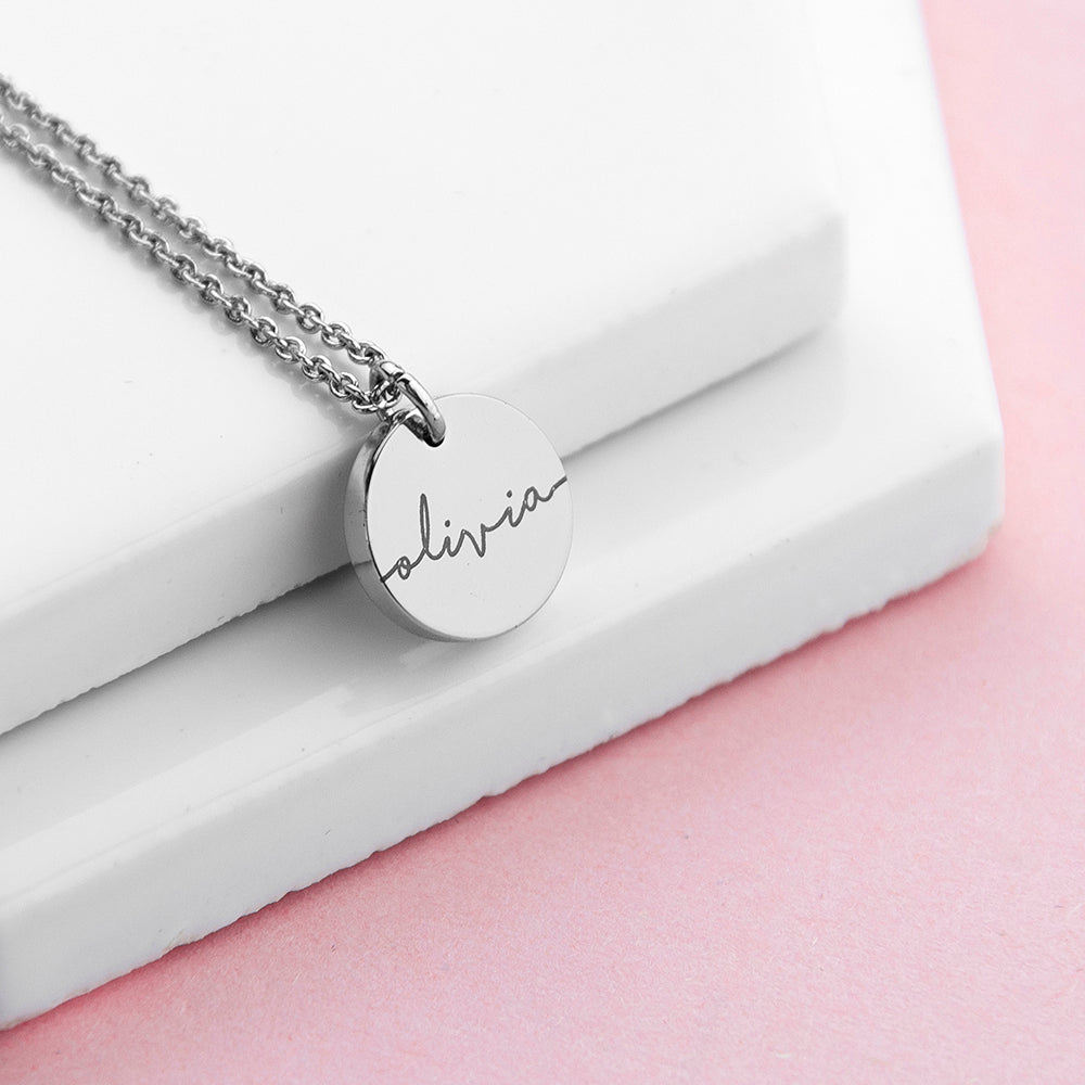Personalised sterling silver plated disc necklace
