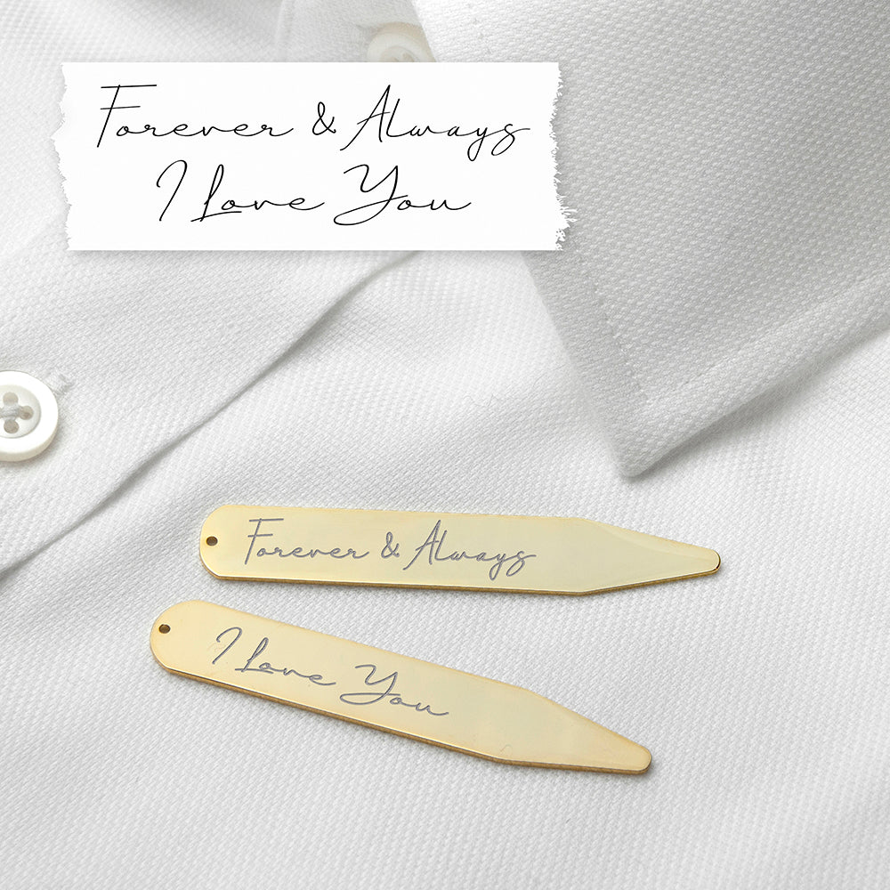 Personalised sartorial gift of a pair of gold-plated collar stiffeners engraved with your own handwritten words. Each stiffener can be engraved with different messages and there is a limit of 3 to 5 words per stiffener.