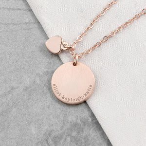 Personalised Heart & Disc Family Rose Gold Plated Necklace Engraved with Serif Font Option