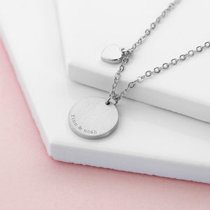 Personalised Heart & Disc Family Silver Plated Necklace Engraved with Serif Font Option