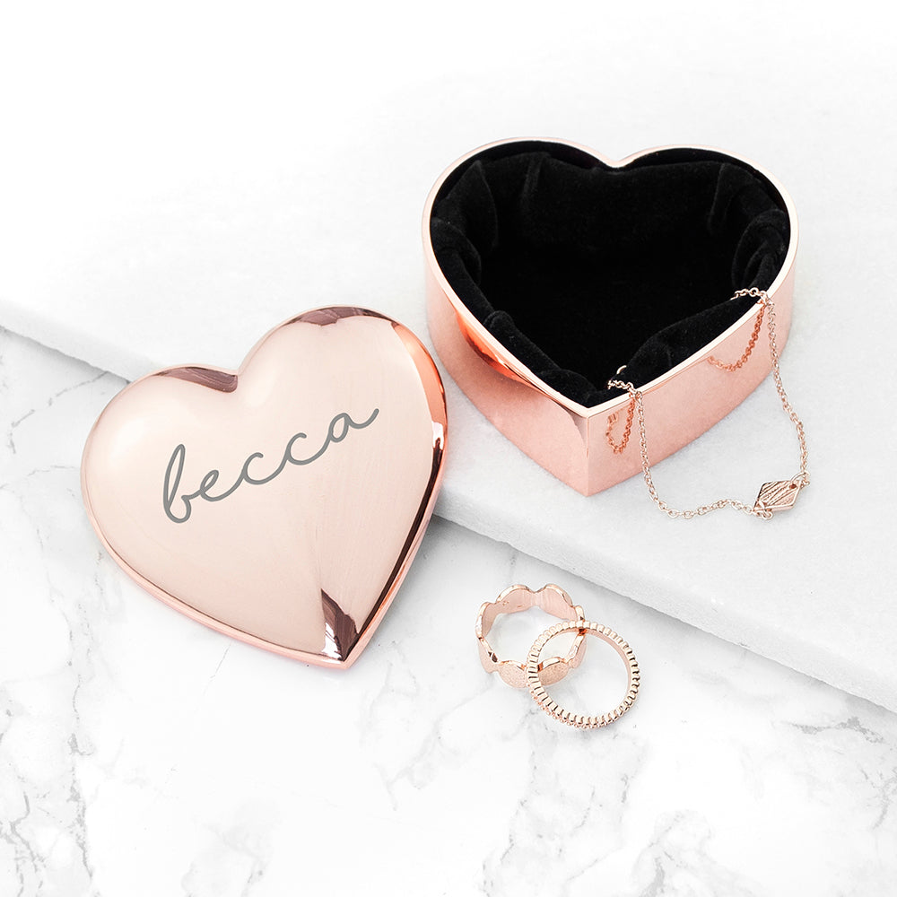 Personalised Heart Shaped Trinket Box in Rose Gold
