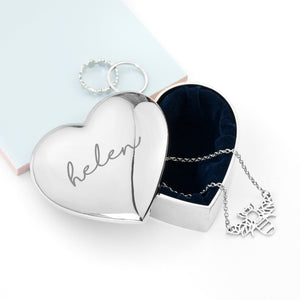 Personalised Heart Shaped Trinket Box in Silver