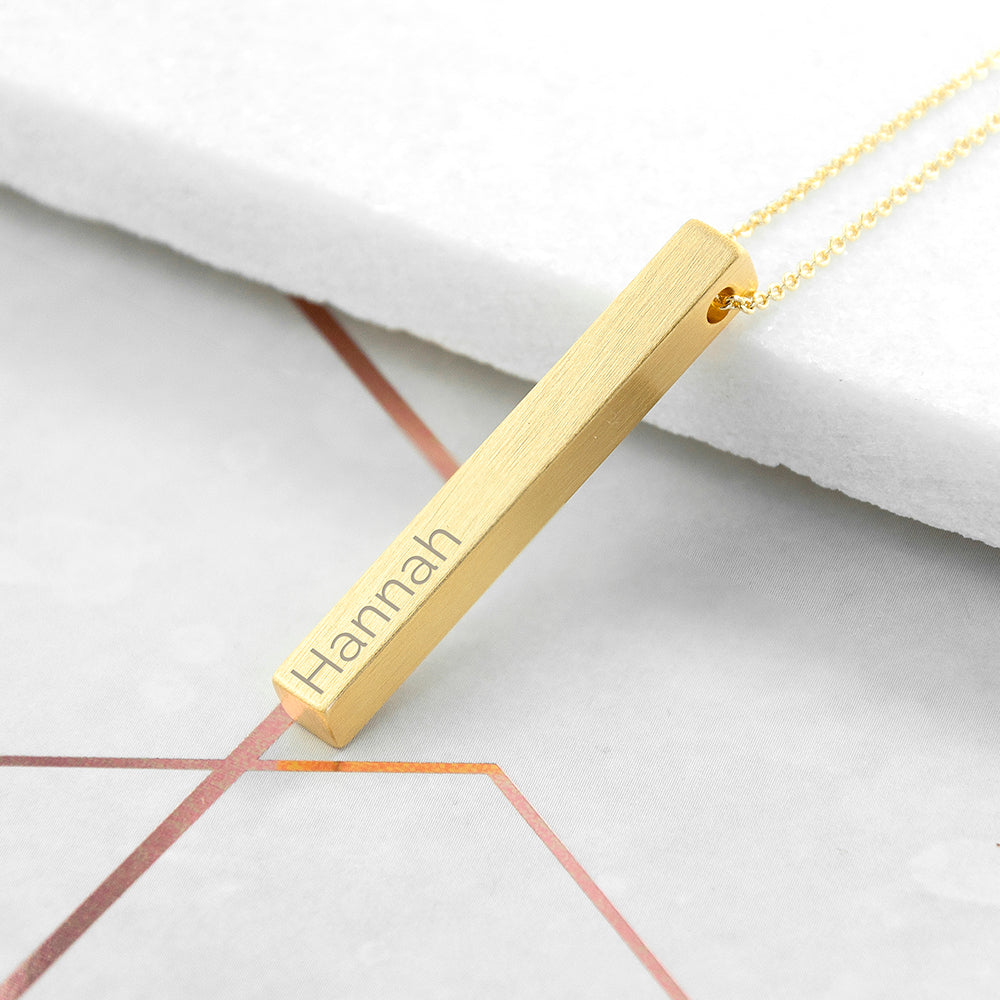 Personalised Gold Plated Vertical Bar Necklace Engraved with Sans Serif Font Option