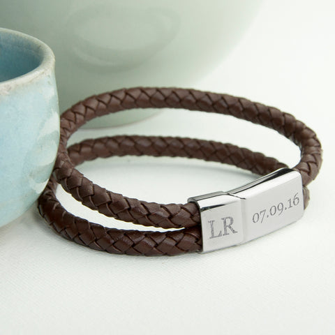 Engraved brown leather woven bracelet