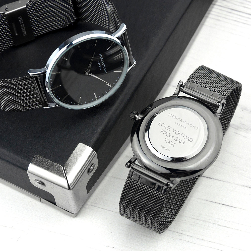 Personalised Mr Beaumont Mesh Gun Metal/Black Watch Engraved with Sans Serif Font
