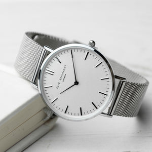 Personalised Elie Beaumont Oxford Large White and Silver Mesh Strap Watch