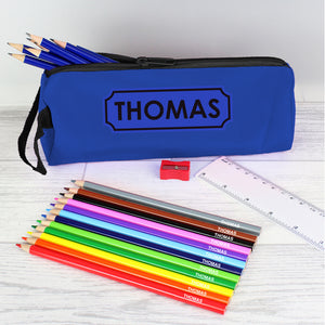 Personalised blue pencil case with personalised colouring and HB pencils plus a ruler and pencil sharpener