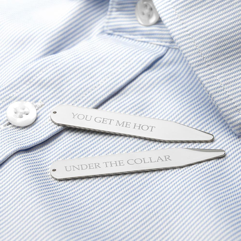 Engraved silver rhodium plated collar stiffeners