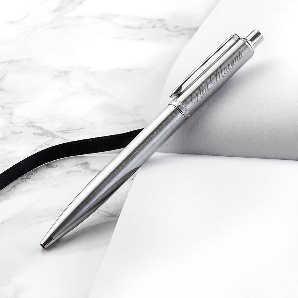 Engraved Pen Sheaffer Brushed Chrome Ballpoint