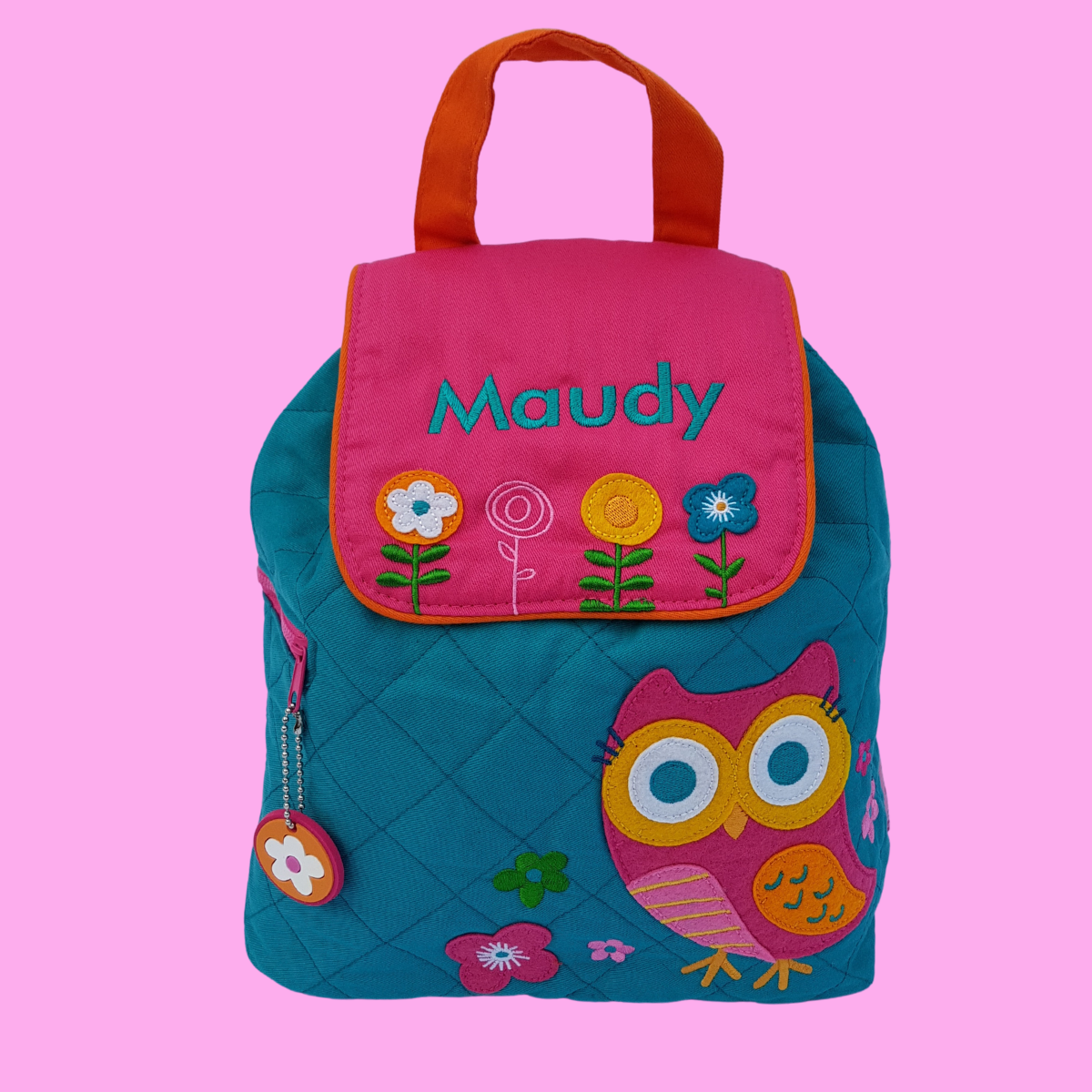 Personalised Stephen Joseph Owl child's backpack. Made from quilted torquoise fabric with a bright owl design on the front. The opening flap of the bag which is fuschia pink has applique flowers on it and it can be embroidered with a name of your choice.