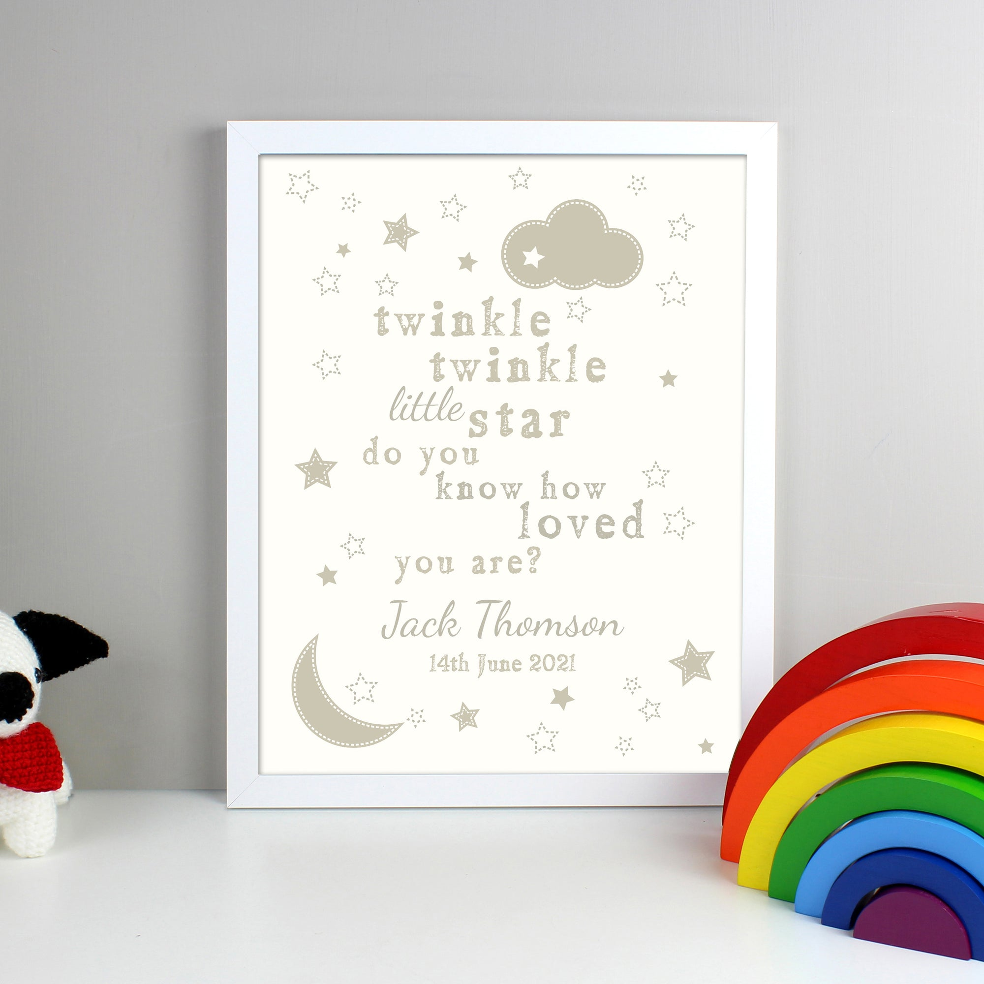 Personalised framed print with the wording 'Twinkle twinkle little star do you know how loved you are' printed in different sizes and fonts in grey on a white background. There are smaller illustrations of clouds and stars throughout the print.  The print can then be personalised with a name and a special message of your own or birth details. The print comes in a white frame.