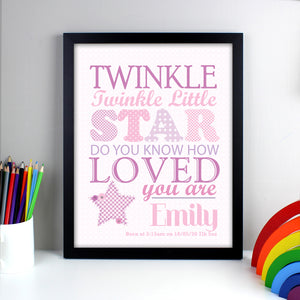 Personalised frame print with the wording 'Twinkle twinkle little star do you know how loved you are' printed in different sizes, fonts and shades of pink. There is also an illustration of a pink star in the bottom left hand corner of the print. The print can then be personalised with a name and a special message of your own or birth details. Available with either a white or black frame.
