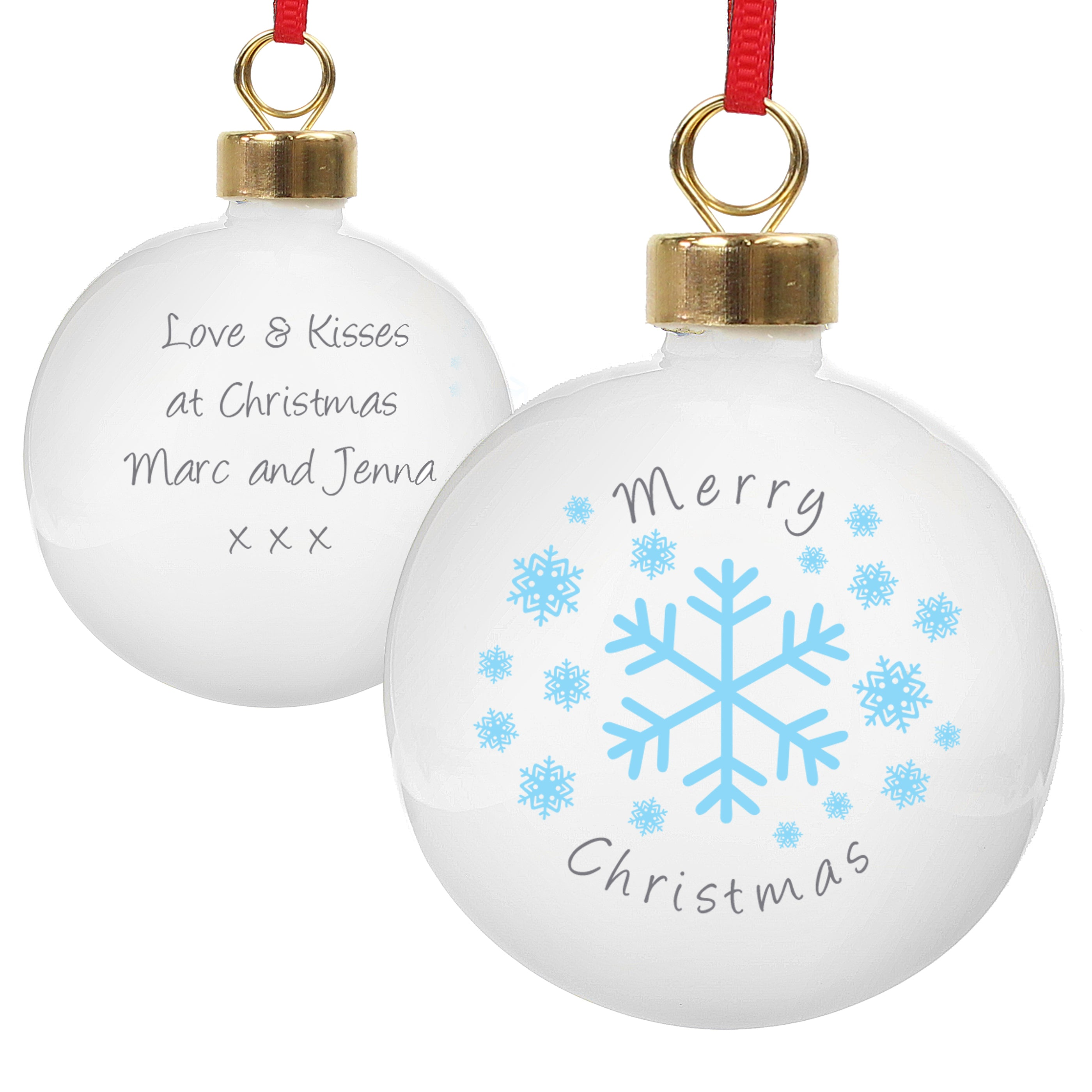 Personalised white ceramic round Christmas tree bauble featuring a blue snowflake design on the front and the words 'Merry Christmas' in black. The rear of the bauble can be personalised with your own message over 4 lines in a black font.