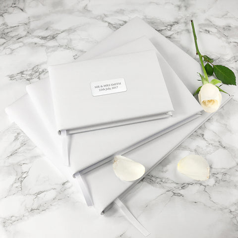 Personalised White Leather Guest Book available in 3 sizes