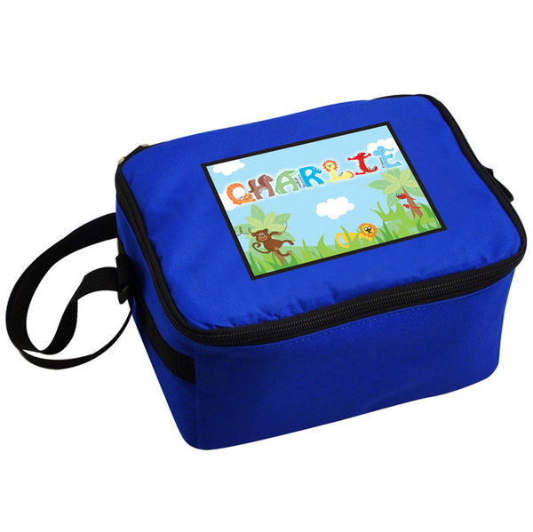 Personalised Animal Letter Blue Lunch Bag Box Made For You