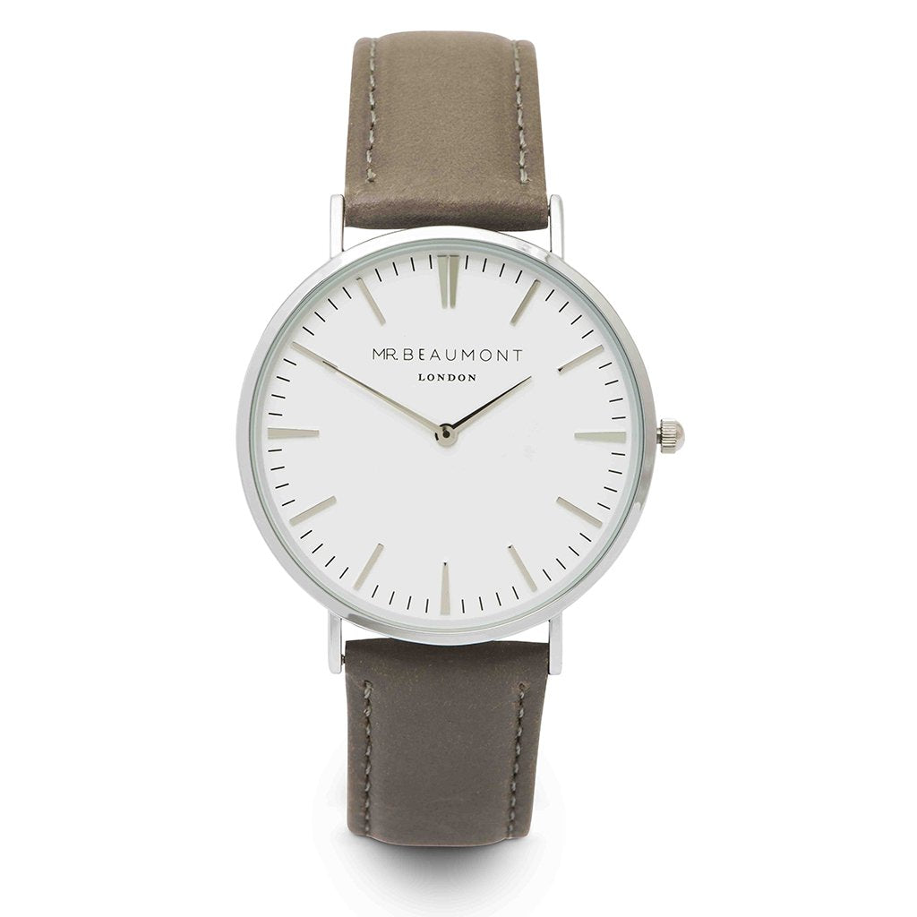 Personalised Mr Beaumont Leather Grey/Silver Case Watch