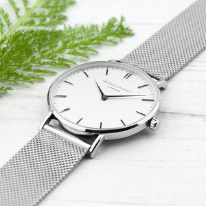 personalised mr beaumont watch with metallic silver mesh strap and white eggshell dial