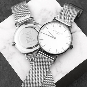 personalised mr beaumont watch with metallic silver mesh strap and white dial engraved with sans serif font