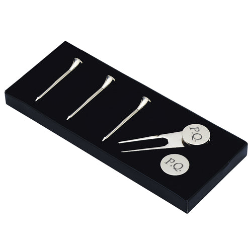 Personalised Silver Plated Golf Accessories Set