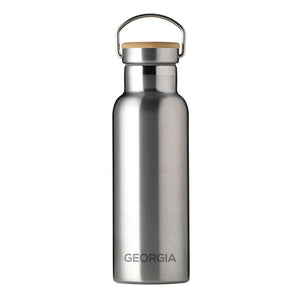 Personalised stainless steel insulated drinks bottle with a double wall and a bamboo vacuum screw top lid. The side of the bottle can be engraved with a name of your choice in uppercase.