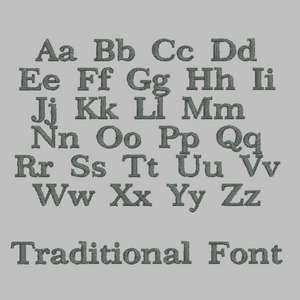 Traditional font option to be used for embroidery onto personalised school rucksack