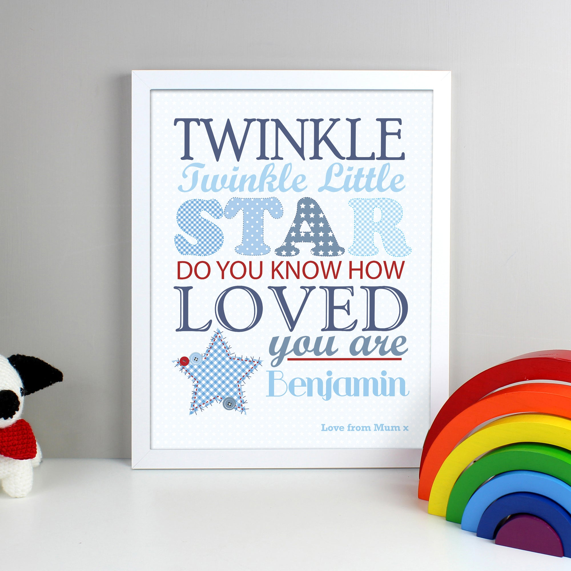 Personalised framed print with the wording 'Twinkle twinkle little star do you know how loved you are' printed in different sizes and fonts in blue and red on a white background. The print can then be personalised with a name and a special message of your own or birth details. The print comes in a white frame.