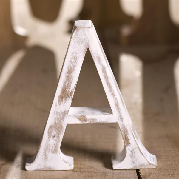 White Wooden Letters made from mango wood in shabby chic style measuring approximately 15 cm high
