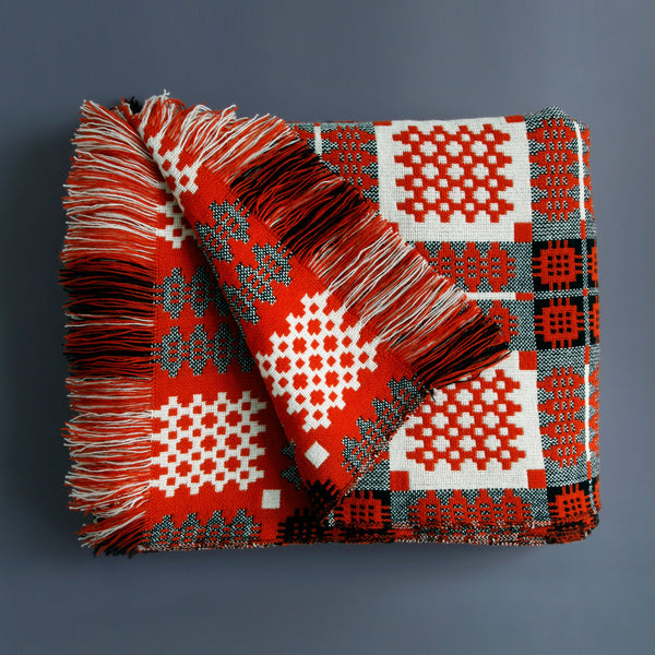 Welsh Tapestry Blanket Orange