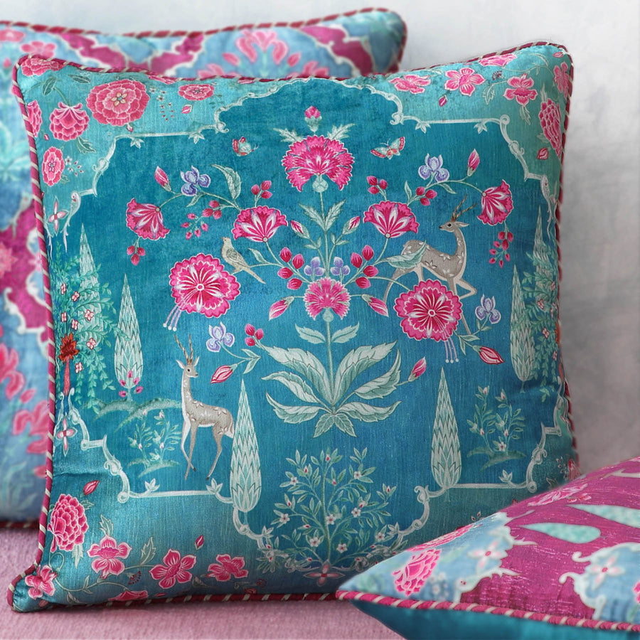 Gulzar Cushion Cover - Aqua
