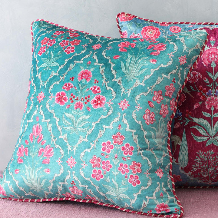 Gulzar Jaal Cushion Cover - Aqua