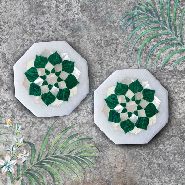 Mandala Precious Inlay Coaster - Malachite