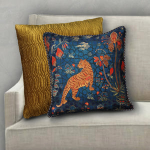 Isfahan Tiger Cushion Cover - Blue