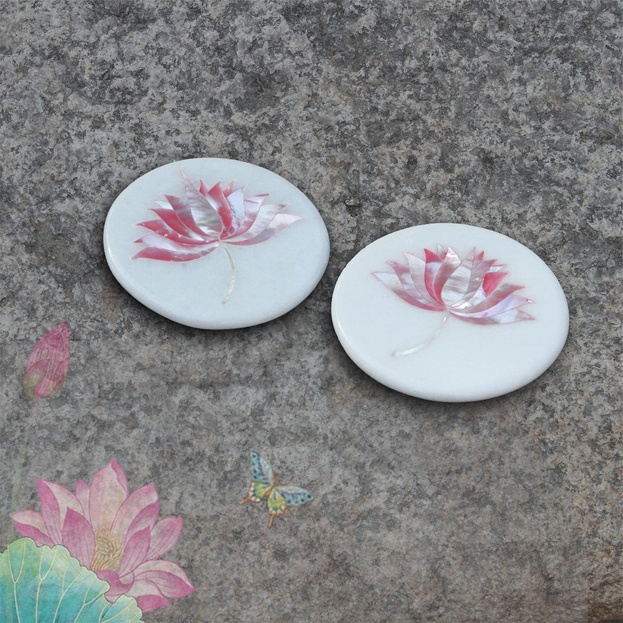 Lotus Inlay Coaster - White