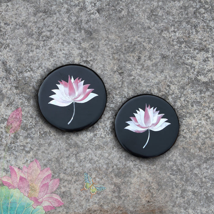 Lotus Inlay Coaster - Black