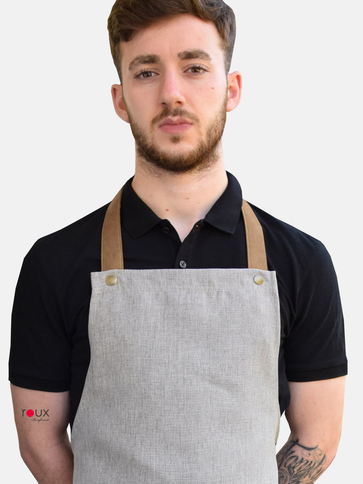 bib apron with leather look