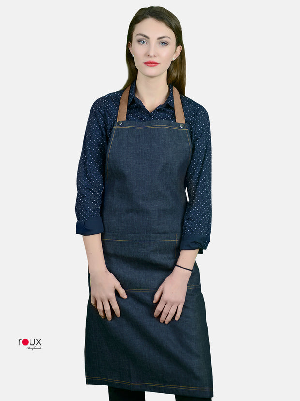 denim bib apron