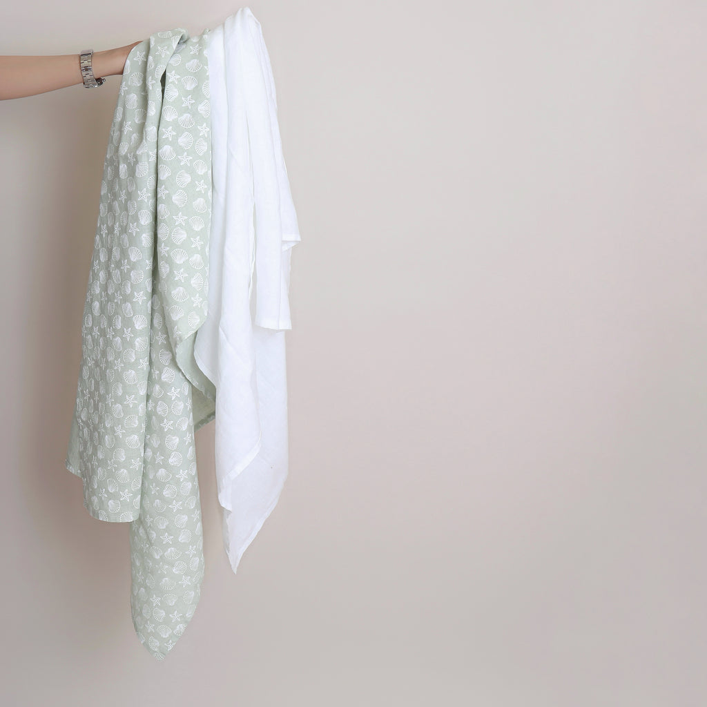 Pure linen Baby Blanket  Sea Foam & White - Shell Collection