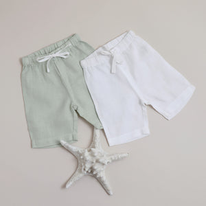 Pure Linen Baby White Short - Shell Collection