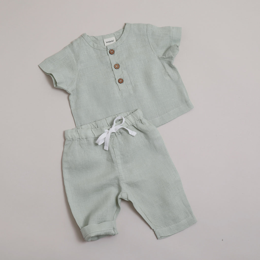 Pure linen Baby Sea Foam Pant - Shell Collection