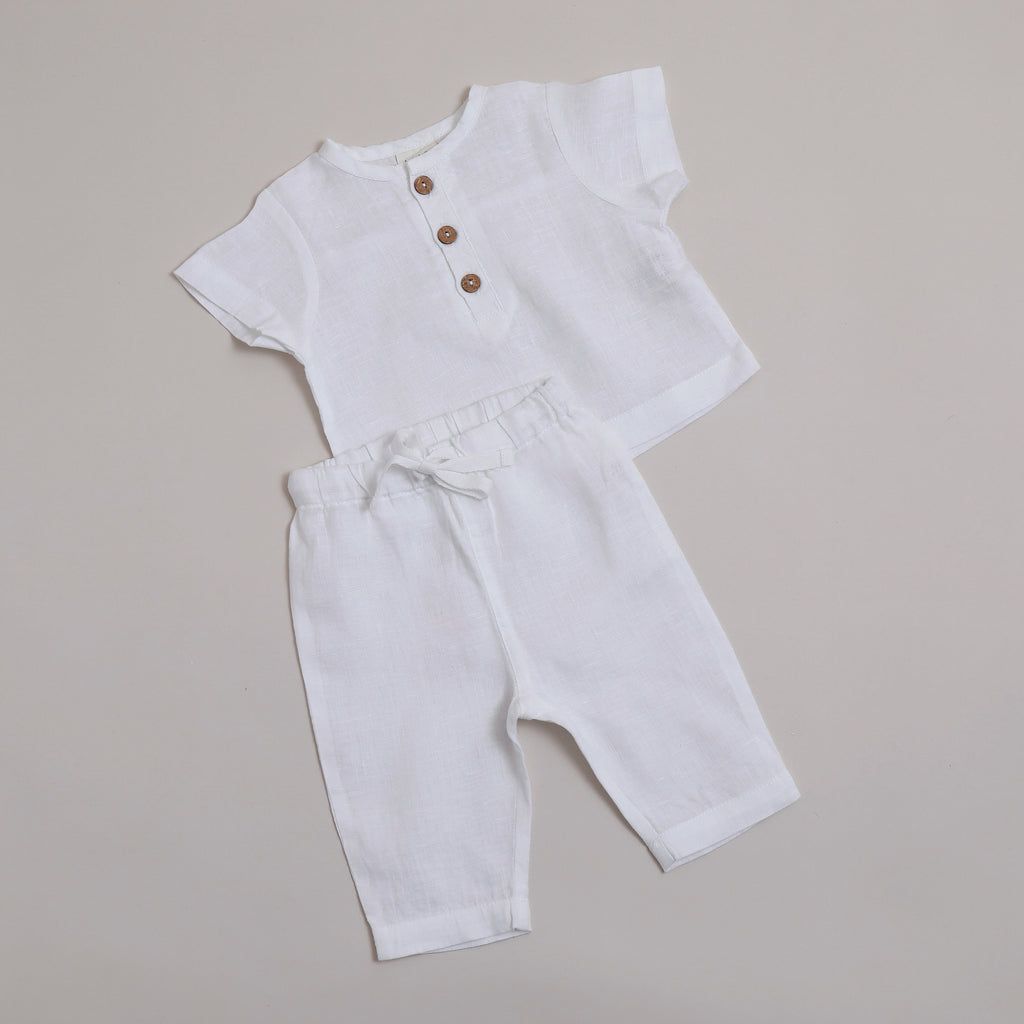 Pure linen Baby White Shirt -Shell Collection