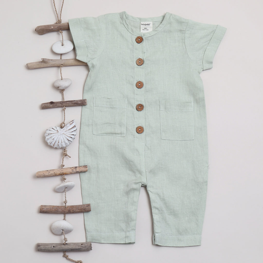 Pure linen Baby Jumpsuit SS Sea Foam - Shell Collection